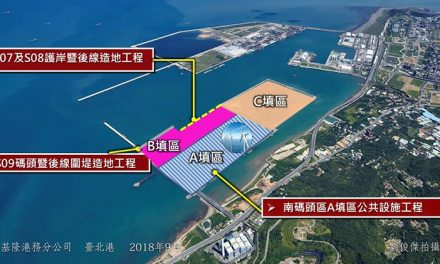 Work begins on Wharf Nos. S07 and S08 and adjacent land-reclamation support structures at Taipei Port