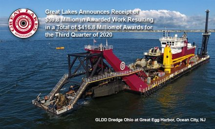 Great Lakes Announces Receipt of $59.8 Million in awarded work resulting in a total of $416.8 Million of awards for the Third Quarter of 2020