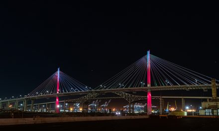 New Long Beach bridge lights up with colorful display