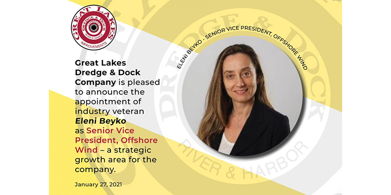 Great Lakes Dredge & Dock Co. names Eleni Beyko to lead its entry into offshore wind