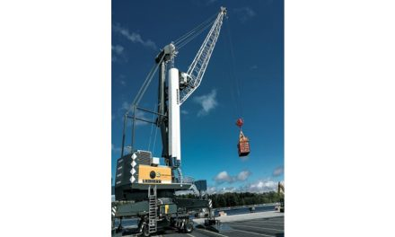 First Liebherr Mobile Harbour Crane with fossil-free diesel